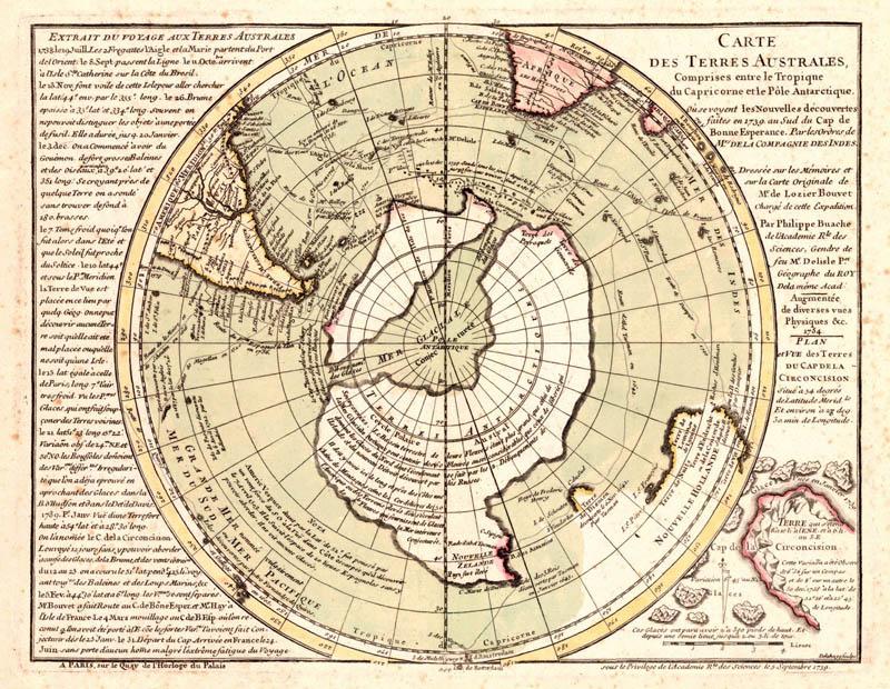 Карта Антарктиды, составленная Филиппом Буаше. 1739 г.